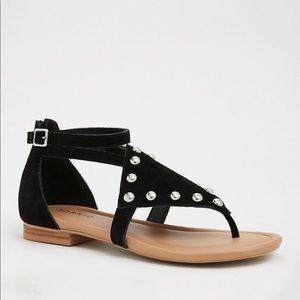 Torrid Black Leather Studded Sandals